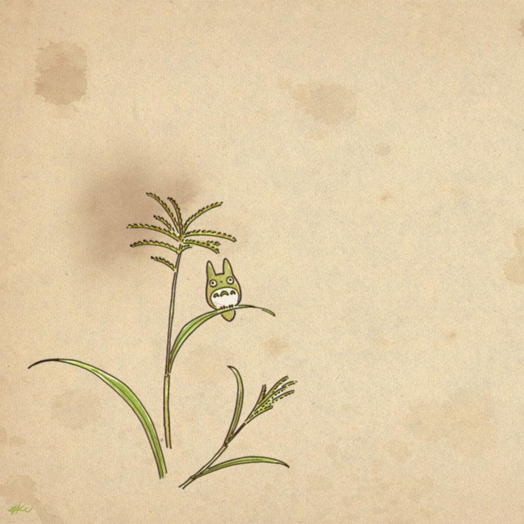 龙猫手绘简约风 ipad高清动漫壁纸